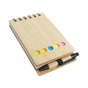 Lesena eko beležka z označevalci in eko kemičnim svinčnikom – Bambus – 00387