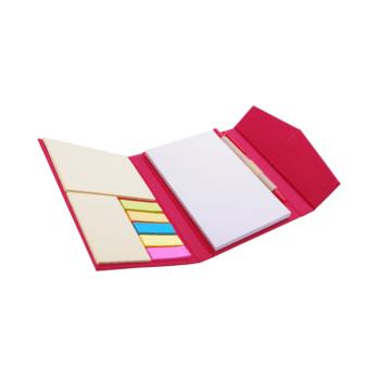 Eko mapa Memo z zapiranjem na magnet, eko kemičnim svinčnikom, beležnico, post listki in samolepilnimi lističi – 00453