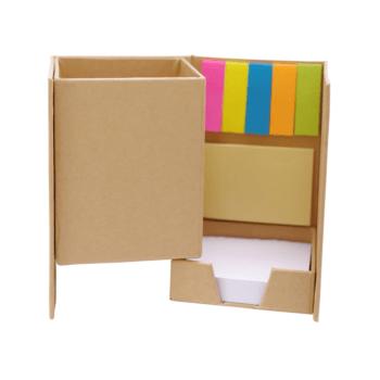 Zložljivo eko držalo za svinčnike s samolepilnimi lističi, označevalci ter 130 belimi lističi- 00456