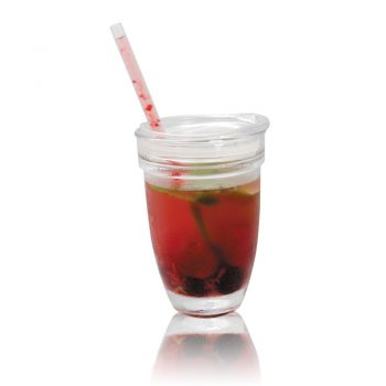 00510-ZECO BOROSILIKATEN STEKLEN KOZAREC (lonček) S POKROVOM za pitje in za slamico – eko