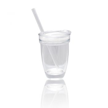 Steklen ZECO lonček-kozarec pozitivne energije s pokrovčkom  za slamico – 00510 (eko)