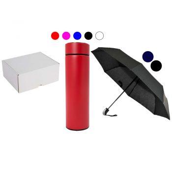 Darilni set termosteklenica z LED prikazovalnikom in open/close dežnik v darilni embalaži – SET 3