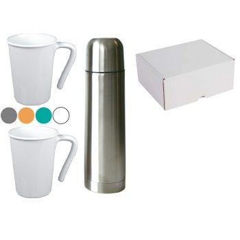 Darilni set termo steklenica vakuum 0,5l in dve skodelici pastel v darilni embalaži – SET 4