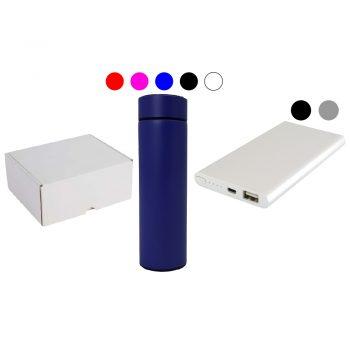 Darilni set termosteklenica z LED prikazovalnikom in power bank 5000mAh v darilni embalaži – SET 5