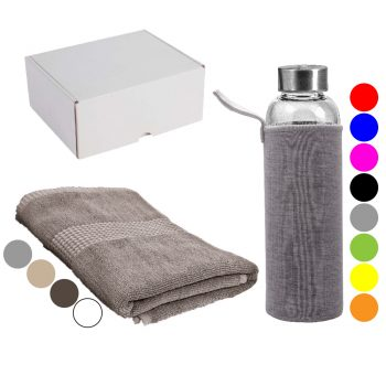 Darilni set brisača 50 x 100cm in borosilikatna steklenička za vodo v darilni embalaži – SET 6